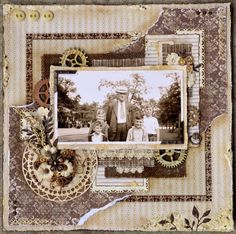 The Funk Boys ~ A grungy Steampunk style heritage page with wooden gears, metal embellishments, buttons and ink distressing brings a masculine vintage look to the layout.