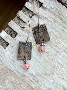 EcoFriendly Etched Brass Zentangle Earrings Pink by MyBrownWren, $38.00