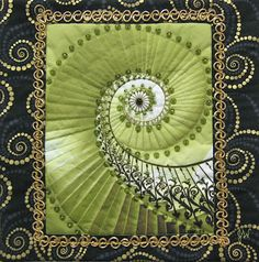 """Material Mavens: Judy W's Spiral: """"Staircase To Heaven"""" {} Small Quilts, Mini Quilts, Fabric Art, Quilting Fabric, Bargello Quilts, Textile Art, Textile Design, Quilt Festival, Sewing Crafts"""