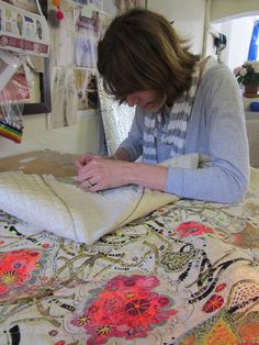 Louise Gardiner, contemporary embroiderer, working