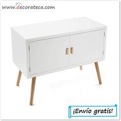 """Mueble auxiliar de madera blanca """"Nordic"""". Decoración nórdica / escandinava - WWW.DECORATECA.COM"""