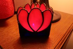Tulip stained glass tealight holder, made by me