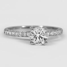 Platinum Petite Shared Prong Diamond Ring // Set with a 1.01 Carat, Round, Super Ideal Cut, F Color, SI1 Clarity Diamond #BrilliantEarth