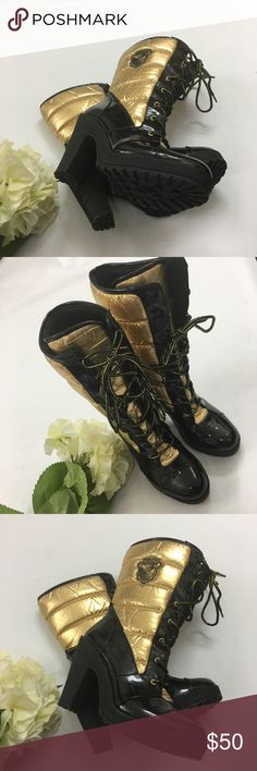 "Baby Phat black/gold lace up boots size 10 Stunning head tuner boots from Baby Phat Black and gold with iconic sign on the side and on back of heels Heels approx 4"", platform approx 1"" Condition : EU Baby Phat Shoes Winter & Rain Boots"
