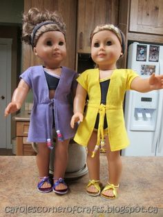 Carole's Corner of Crafts: American Girl Doll Swimsuit Cover-up Tutorial and Headband Tutorial AG003