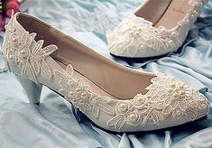 Flat/4cm/7.5cm heel white ivory pearls flats lace Wedding shoes Bridal size 6-10