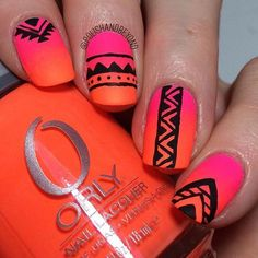 "Aztec print tribal nail art over neon gradient using ""Beach Cruiser"" and ""Mayhem Mentality"", the tribal was done with acrylic paint Aztekische Nageldesigns Tribal Print Nails, Aztec Nail Art, Neon Nail Art, Tribal Nails, Trendy Nail Art, Acrylic Nail Art, Glitter Nail Art, Tribal Prints, Colorful Nail Designs"