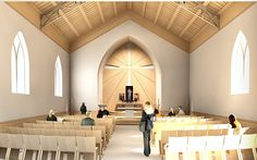 Here is a sketch-offer for a Catholic church interior design.The main idea is simplicity of the premises and spreading light from Divine Love of Jesus the Christ through the cross of the altar.