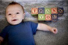 Great idea for Thank You cards for the kids.  Can really use this for baby thru toddler.  Fantastic idea!!  And a great momento to send out too.