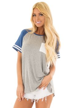 Steel Grey and Royal Blue Baseball Tee with Ivory Details front closeup