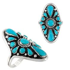 925 Sterling Silver Ring with Genuine Turquoise