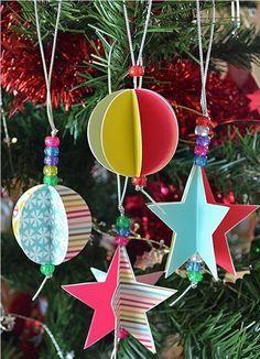 bastelideen weihnachten weihnachtsbaum schmuck kugeln sternchen