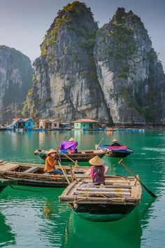 Ha Long Bay, Vietnam; Situated on the edge of the Gulf of Tonkin, it is studded with more than 2,000 rock outcroppings of all shapes and sizes, resembling dogs, elephants and toads. For a closer look, take a kayaking tour!