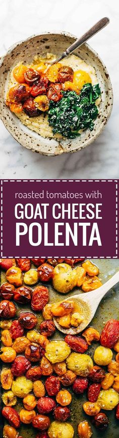 Roasted Tomatoes with Goat Cheese Polenta - an easy vegetarian recipe adaptable to whatever veggies you have on hand. Healthy meets comfort food! | pinchofyum.com