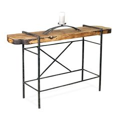 This Studio Console Table tastefully joins a thick raw wood table top with a hand-forged iron table base and is available in custom iron fishes and tops. Iron Furniture, Table Furniture, Furniture Making, Studio Table, Sofa Tables, Console Tables, Iron Table, Wood Slab, Trends