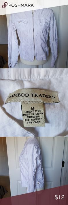 🎉 5 for 25 Bamboo Traders Medium Jacket Pretty white zip-up medium jacket by bamboo Traders. Has very minor signs of wear.   5 for 25 sale going on now! Measurements upon request. bamboo traders Jackets & Coats