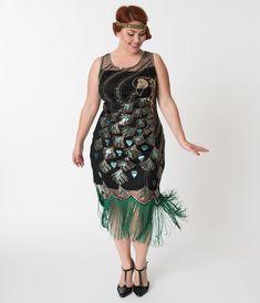 Plus Size 1920s Black   Green Beaded Antoinette Peacock Flapper. 1920  Flapper Dresses20s DressesMasquerade Dresses1920s FlapperUnique Cocktail ... 4b0dee33e224