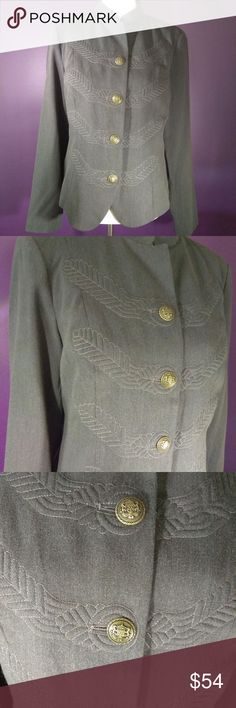 Beautiful Vintage cabi Fall 2010 Corps Jacket NWT Vintage cabi ♥ Fall 2012 - cabi Corps Jacket #221 ♥ NEW with tag! Beautiful Military inspired jacket is stunning! Love the added attention to detail with multi stitch design next to each chunky brass metal button and fun printed lining! Awesome heathered olive green will be a fab addition to your wardrobe ♥    Fabric: 87% Polyester - 9% Rayon - 4% Spandex  Garment Care: Dry Clean  ♥ Please visit my closet again soon - lots of excellent deals…
