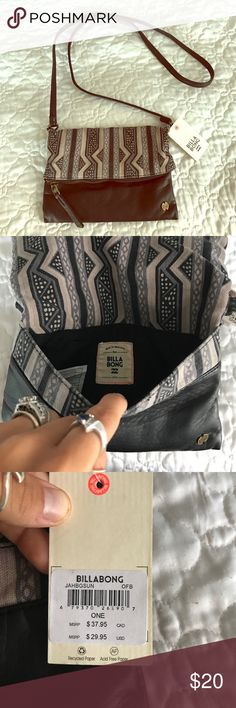 NWT billabong crossbody purse/clutch 🛍 Never used before billabong grey and black side purse with option to take off handle and use as clutch has 3 compartments total and a small one in inside. Make offer! 🎀 Billabong Bags Clutches & Wristlets