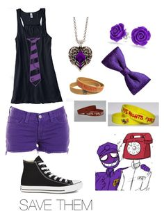 """""""Purple man fnaf"""" by ariannagotstyle ❤ liked on Polyvore featuring J Brand, Converse, Bling Jewelry, claire's, ZuZu Kim and Freddy"""