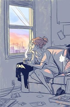 Becky Cloonan. - I wish I could open my window and sit there drinking a cup of coffee, looking out, without knowing everyone were looking in at me - not seeing me.