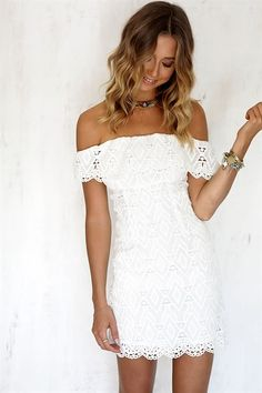 The Kendall Dress is a must have! This off the shoulder style dress features a delicate lace overlay throughout and an elasticated waistband. #SABOSKIRT