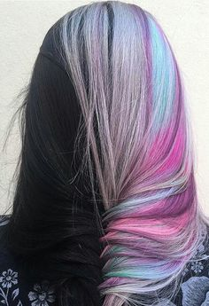 Two color hair, hair color for black hair, blue hair, pink hair, pastel hai Two Color Hair, Hair Color Highlights, Hair Color For Black Hair, Hair Colors, Blue Hair, Pastel Colors, Fishtail Braid Hairstyles, Cool Hairstyles, Drawing Hairstyles