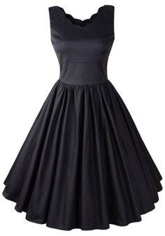Black Plain Backless V-neck Vintage Midi Dress