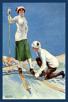 "19 ~ by Kimberly Sondra ~ Theme: ""Vintage Winter Fun"" Vintage Winter, Vintage Ski, Vintage Ladies, Fine Art Prints, Canvas Prints, Ski Posters, Winter Fun, Winter Sports, Winter Images"