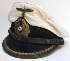 Reproduction German U-Boat Submarine Captains Peaked cap with 70+ years of ageing and some worn and tarnished areas as worn by the Captain of a u-boat, Oberleutnant zur See - the most common u-boat commanders rank.  www.warhats.com