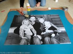 Enlarged picture tutorial. Wood frame is great if I had the tools. Great idea for new born gift
