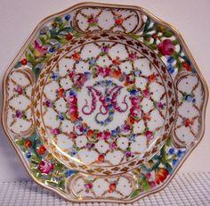 "Carl Thieme Marie Antoinette 6 1 2"" Diameter Bread Plate s Dresden Flowers"