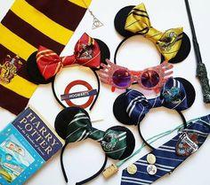 Harry Potter Inspired Minnie Mouse Ears Slytherin Ears Gryffindor Minnie Headband Hogwarts Ears