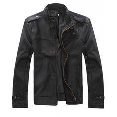 Men Fashion Zipper Long Sleeve Black Leather Fur Coat... ($32) via Polyvore