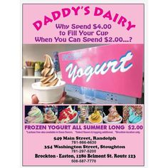 "@daddysdairy's photo: ""Starts today!!!! $2.00 #froyo #daddysdairy #brockton location only"""