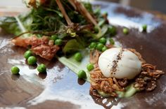 New favorite dish added by Contributing Chef Ricky Yap of Akiko's Restaurant. #Wild #greens from Bouche. #vegetables #lettuce #healthy #salad #caramelized #pear #fruit #roquefort #cheese #walnut #endive #vinaigrette #pepper #bacon #pickled #poached #egg #appetizer #french #eat #hungry #food #dinner #instagood #yummy #sanfrancisco #SF #chefsfeed