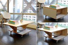 mesa retratil, compensado, arquitetura, design, abre e fecha, esconde
