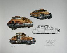 The Fifth Element: 40 Original Concept Art Gallery - Daily Art, Movie Art Classic Sci Fi Movies, New York Taxi, Concept Art Gallery, Fifth Element, Character Design References, Sci Fi Fantasy, French Artists, Retro Design, Disney Art