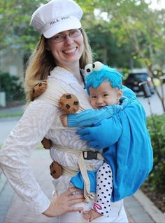 Babywearing costume idea from Wrap Your Baby: Cookie Monster and milk mom