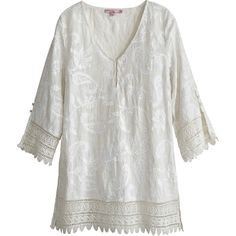CALYPSO St. Barth Lasca Embroidered Linen Lace Trim Top ($395) via Polyvore featuring tops, tunics, sattaire, linen tops, button tunic, 3/4 length sleeve tops, 3/4 sleeve tops and paisley tunic