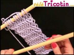 Le point Arête de Hareng ou Herringbone au tricot - YouTube