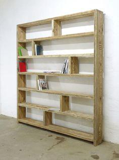 Bücherregale - Bücherregal aus altem Bauholz -Regal 200 x 200 - ein Designerstück von up-cycle bei DaWanda