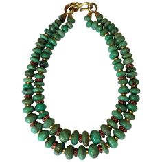 Chrysoprase and Gold Double Strand Necklace | From a unique collection of antique and modern miscellaneous jewelry at https://www.1stdibs.com/furniture/more-furniture-collectibles/miscellaneous-jewelry/