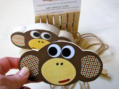 Monkey Art Display Clips  ecofriendly  by Maple by MapleShadeKids