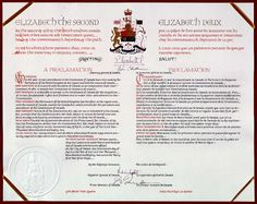 The document signed by the Queen Elizabeth the Second, ratifying the new Canadian constitution.