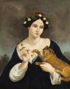 Juan Cordero - Portrait Of A Woman With A Cat And Ivy