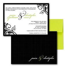 Flourish of the Pen Wedding Invitation (custom colors)