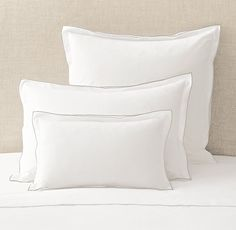 RH's Italian Tipped Satin Stitch Sham:Designed by third-generation Italian linen maker Carlo Bertelli, master tailors craft our bedding from pure Egyptian cotton percale for impeccable softness and comfort. Carefully finished double flanges, both elegantly edged with satin stitching, add a sophisticated touch of color and understated detail.