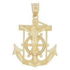 14k Yellow Gold, Christ Jesus Anchor Cross Crucifix Pendant Religious Charm 25mm (P032-011)