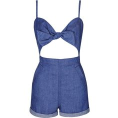 TopShop Moto Bow Romper (245 BRL) ❤ liked on Polyvore featuring jumpsuits, rompers, dresses, playsuits, jumpsuit, topshop, bleach, romper jumpsuit, cut out romper and jump suit